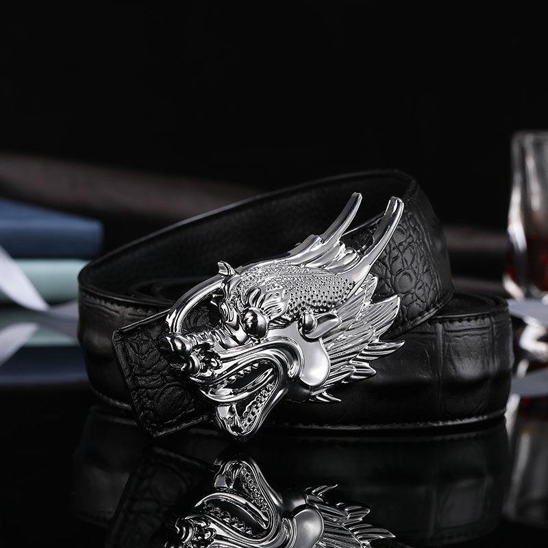2019 designer cintos homens de alta qualidade liso dragão fivela de couro crocodilo cintura cinto chinês dragão ceinture homme j1223