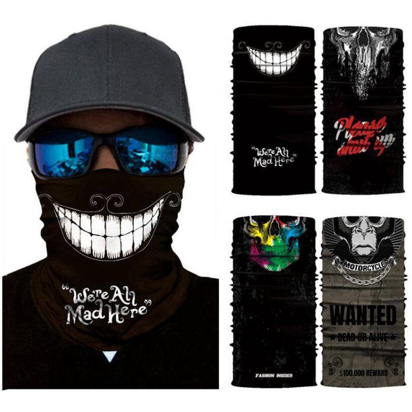 Cráneo bufanda mágica de la motocicleta Senderismo Bandana media mascarilla 25 * 50cm diadema turbante de esquí Ciclismo CYZ2912 Máscara