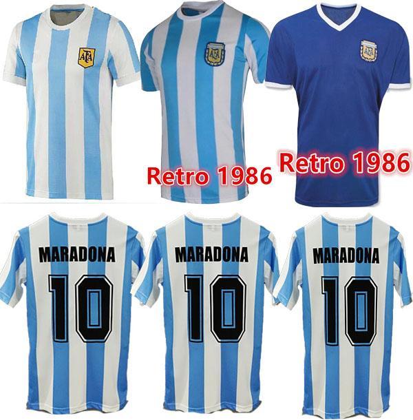 Beste Qualität auf Lager 1978 1986 Argentinien Maradona Home Fussball Jersey Retro Version 86 78 Maradona Caniggia Quality Football Hemd Batistuta