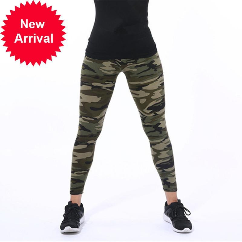 Cuhakci Mujeres Camuflaje Fitness Ejército Militar Ejército Verde Leggings Entrenamiento Pantalones Sporter Skinny Adventure Leggins