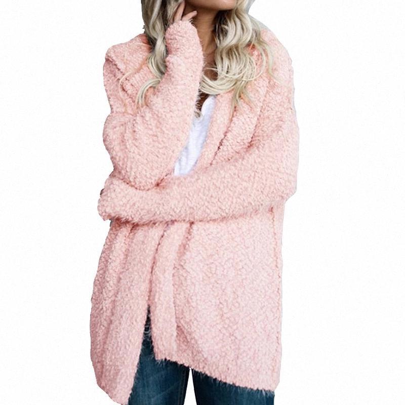 AUTOMNE HIVER Femmes chaudes Manteau Sweat Sweat Solide Sweat à manches longues à capuche à capuche à capuche à capuchon à la taille d'agneau ouverte Stitch Casual Plus Taille Manteaux # CO6J