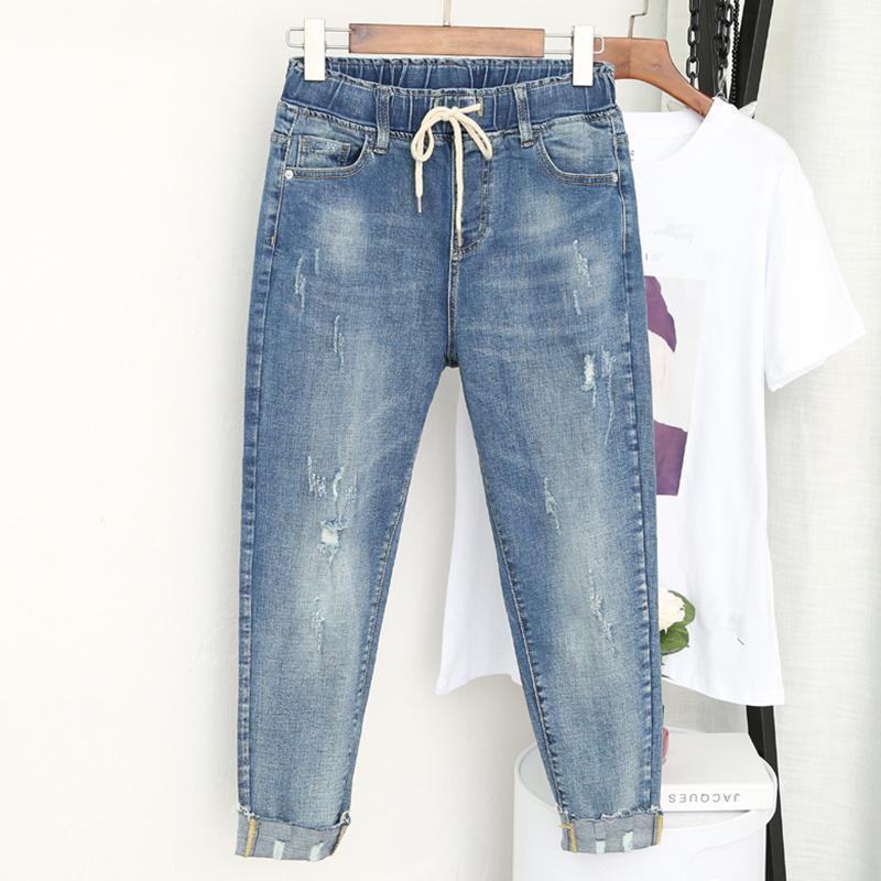 2020 новый плюс размер 5xL эластичная талия джинсовые джинсы Femme парень джинсы женщин повседневная винтажная высокая талия джинсовые гарема штанты1