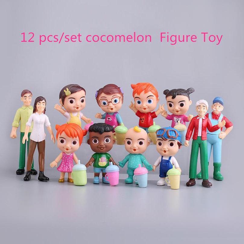 2021 애니메이션 코코 멜론 그림 장난감 PVC 모델 인형 Cocomelon 장난감 어린이 아기 선물 12pcs / 크리스마스 선물 세트