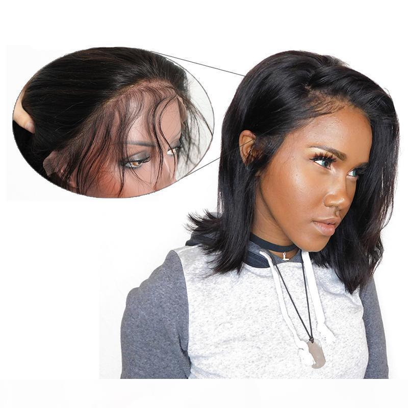 8A Brezilyalı Bakire Kısa Bob İnsan Saç Dantel Ön Peruk Tutkalsız İpeksi Düz Peruk Doğal Siyah Yan Bölüm Doğal Saç Çizgisi 8 Inç