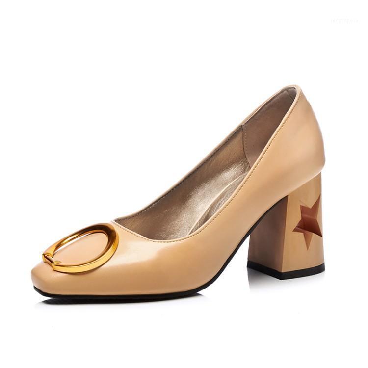 Talla grande Cabeza cuadrada Metal Decorativo Decorativo Zapatos Damas Tacones Altos Zapatos Mujer Pumps1