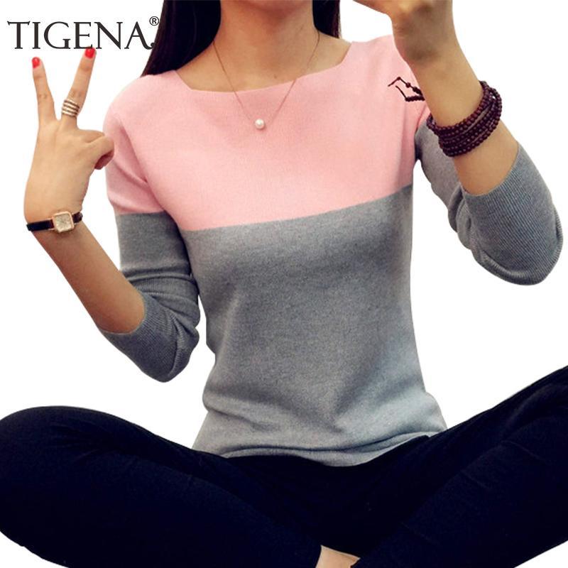 Tigena outono inverno camisola mulheres de malha alta elastic jumper mulheres suéteres e pulôvers feminino preto rosa tops senhora knitwear 201031