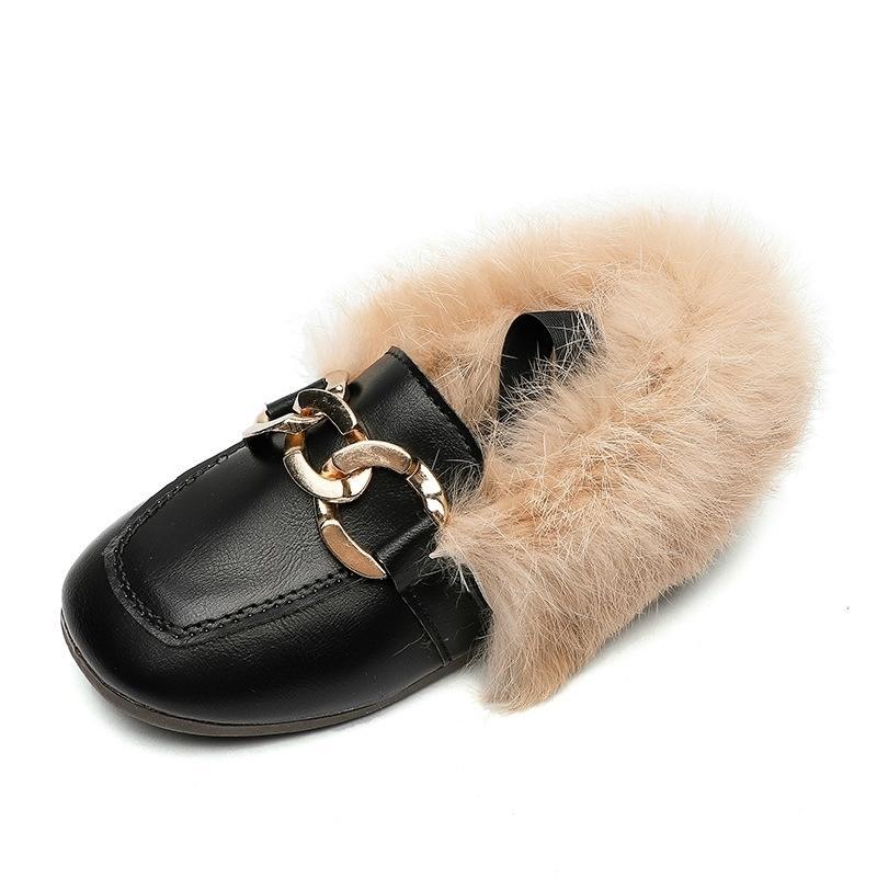 JGVIKOTO Marke Herbst Winter Mädchen Schuhe Warme Baumwolle Plüsch Flauschige Pelz Kinder Müßiggänger mit Metallkette Jungen Wohnungen Kinder Müßiggänger 201119
