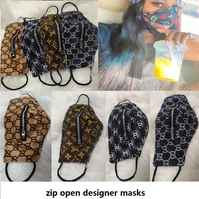 Дизайнерские маски на молнии на молнии мода мода застежка-молния открытый ZIP открытый моющаяся крышка сетка печатание на велосипеде рта чехлы легко есть напиток