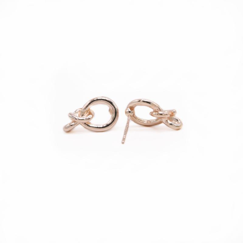 Trendy Round Knot Earring Cute and Playful Style Gold White Rose Three Color Optional For Women
