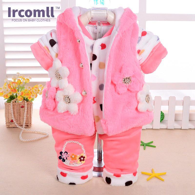 Nouveau bébé Flanel Set Winter Girl Guy Garçon Cartoon Animal Super épais manteau chaud + pantalon + Vêtements (Ensembles de trois pièces) Vêtements Velvet Y1113