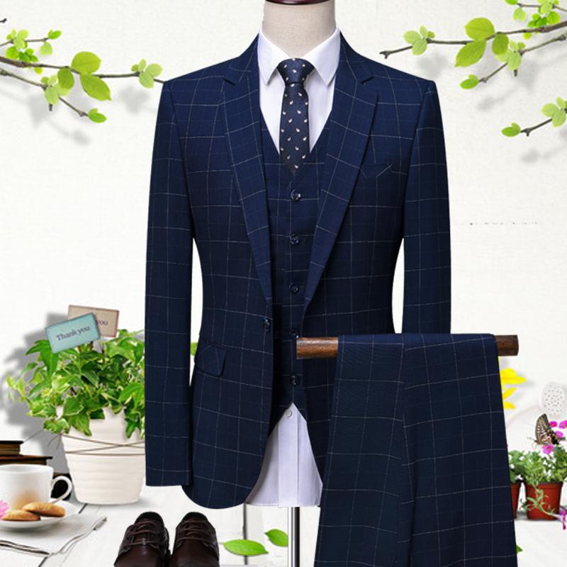 Blaue Gitter-Groomsmen Slim Fit Hochzeitsanzüge für Männer Prom Abendessen Anzug Bräutigam Smoking Kostüm Homme Mariage
