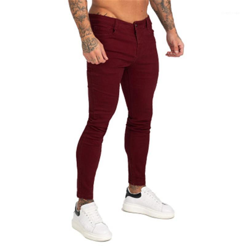 Jeans Skinny Fashion Zipper Button High Street Denim Lápiz Pantalones Spring Masculino Nuevo Monopatín Rojo Casual Slim Pantalones Hombres Color Sólido