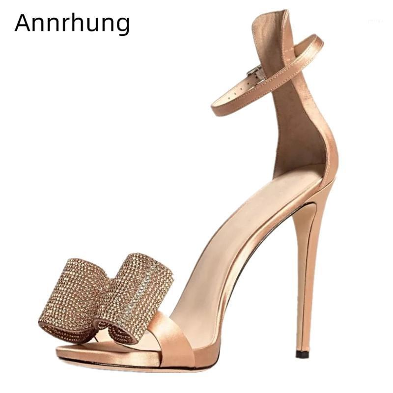 Foret Strinestone Butterfly-Knot State Chaussures Femme 10cm Talons minces Couverture Talonne Bandes de cheville Satin Satin High Heel Sandales Femmes1