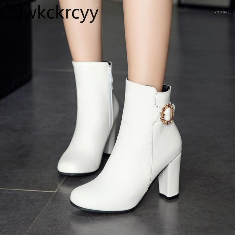 winter The New fashion Round head Thick heel 8CM boots white Sexy Plus cashmere Keep warm High heel Women boots size34-451