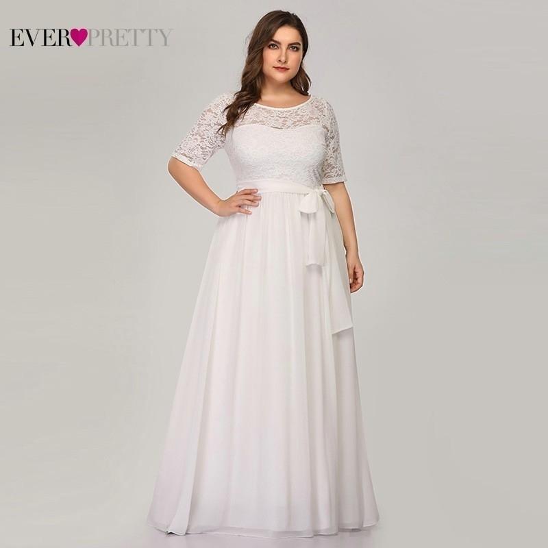Плюс размер кружева свадебные платья когда-либо красивые EZ07624WH A-Line O-CEEN BASH Sashes половина рукава элегантные невесты платья Gelinlik 201113