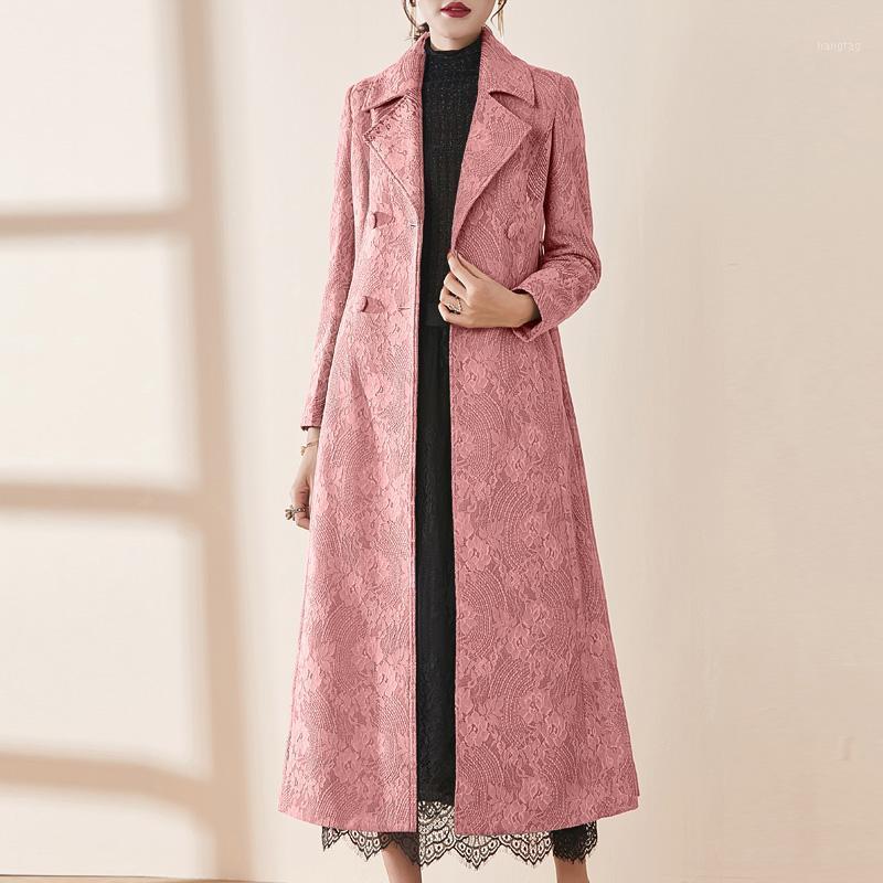 Abrigos de la zanja para mujer 2021 Primavera Faint Fashion Womens Cardigan Long Abrigo, 5xl Double Breasted Sash Cintura Alta Tuster Azul para Mujer1