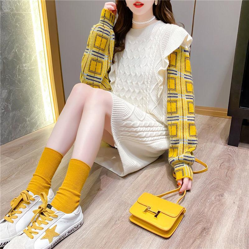 Woman Sweaters Mock Two-Piece Length Sweater Female Loose Lotus Leaf Splicing Pullover Sweater Dress Femme Chandails Pull Hiver