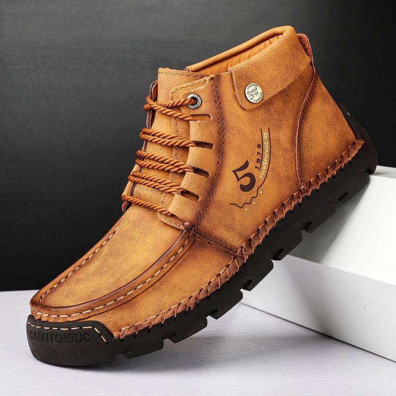 2020 Новый 2020 Новая Мужская Обувь Нескользящая Платформа Кожаные Обувь Мужской Большой Размер Рабочий Загрузчик Мужская Чжонбанг Открытый Туфли на открытом воздухе 4748
