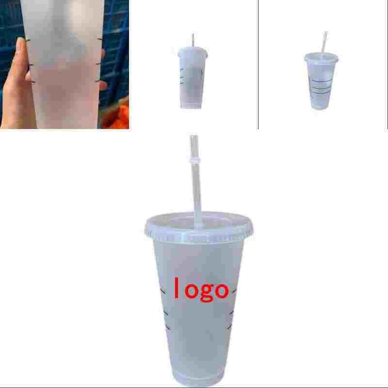 24oz 710ml starbucks copo tumbler alta capacidade de água 5 pcs xícaras de plástico copos de café clear caneca fosca home bar bebida loja de alta qualidade g2