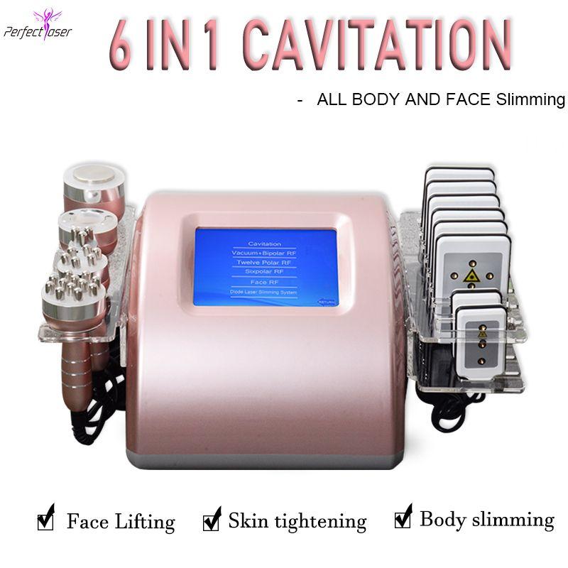 6 em 1 lipoaspiração ultra-sônica Cavitação de emagrecimento Lipo laser perda de peso vácuo RF máquina de emagrecimento CE aprovado