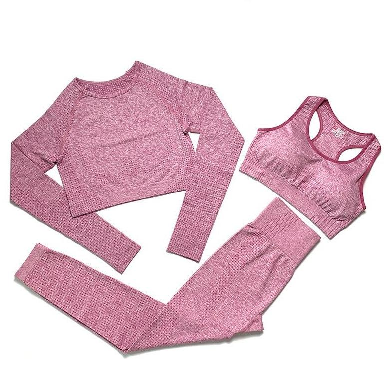 Fashion Brand Designer Designer Womens Cotton Yoga Suit Manica lunga Sportwear Tinesuits Fitness Sport Sport 3 pezzi Pantaloni Pantaloni Bra Camicie Abiti da corsa