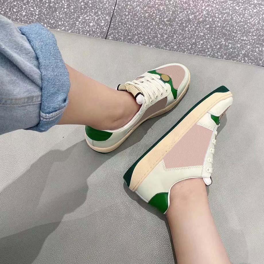 Мода Лучшее Высочайшее Качество Настоящая Кожа Ручной Многоцветный Градиент Технические кроссовки Мужчины Женщины Известные Обувь Тренеры 29