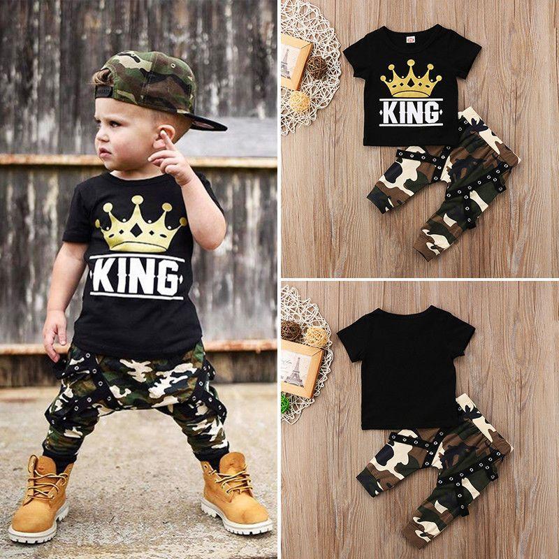 Neugeborene Kinder Baby Jungen Kurzarm Tops T-Shirt Camo Pants 2 stücke Outfits Set Kleidung 0-5YEARS