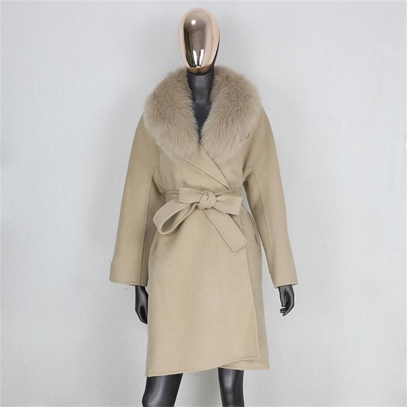 Furelieve Real Casaco de Pele Casaco de Inverno Mulheres Solto Natural Fox Fur Collar Cashmere Wood Blends Outerwear Belt Streetwear 201104