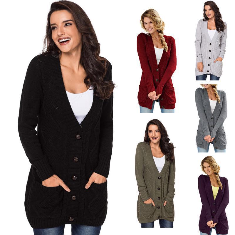 de otoño e invierno Nueva V-cuello de un solo pecho de mitad de longitud chaqueta de punto de mujer de manga larga bolsillo suéter de punto