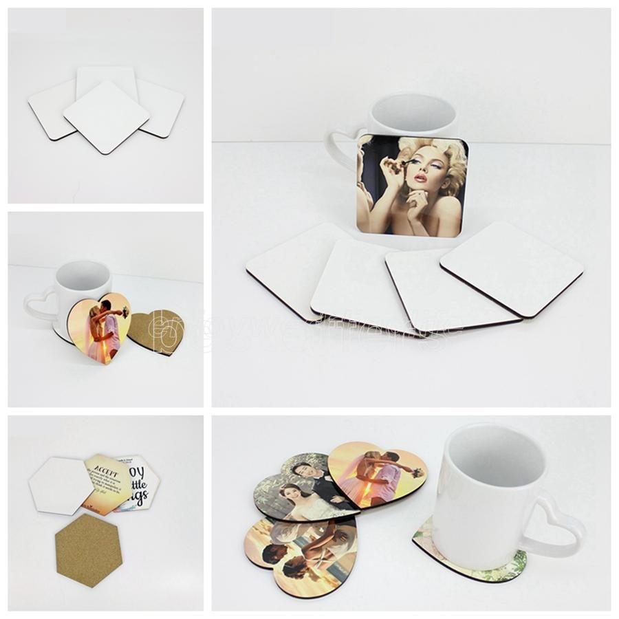 DIY Süblimasyon Boş Coaster Ahşap Mantar Cup Pad MDF Promosyon Aşk Yuvarlak Çiçek Şekilli Kupası Mat Reklam Parti Favor Hediye DHL