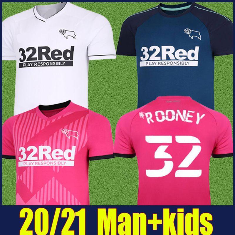 2020 Derby County Rooney Soccer Jersey الصفحة الرئيسية بعيدا الكبار الاطفال كيت مارتن لورانس لكرة القدم قمصان 20/21 ديربي مقاطعة الحكمة Waghorn موحدة