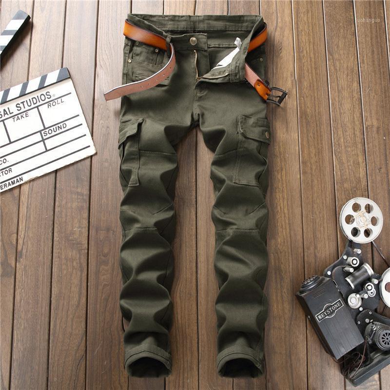 Joli jeans vert jeans hommes streetwear détruit punk hip hop crayon motard broderie patch pantalon1