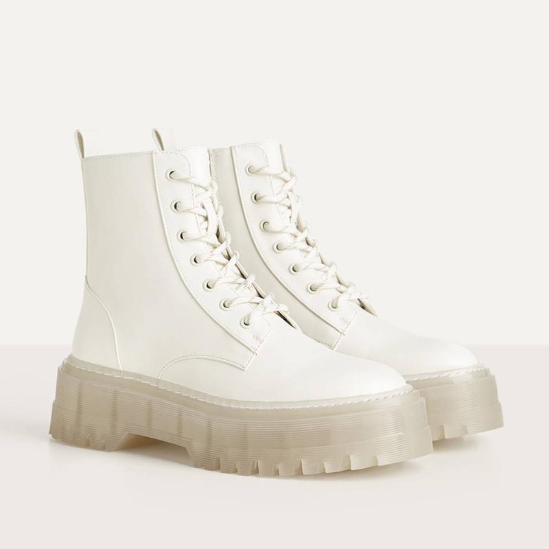 Sıcak Satış 2020 PVC Şeffaf Topuk Ayak bileği Boots For Women Beyaz Dantel Yukarı Platformu Boots Kadınlar Sonbahar INS Sıcak Kadınlar Chunky Motosiklet Boots