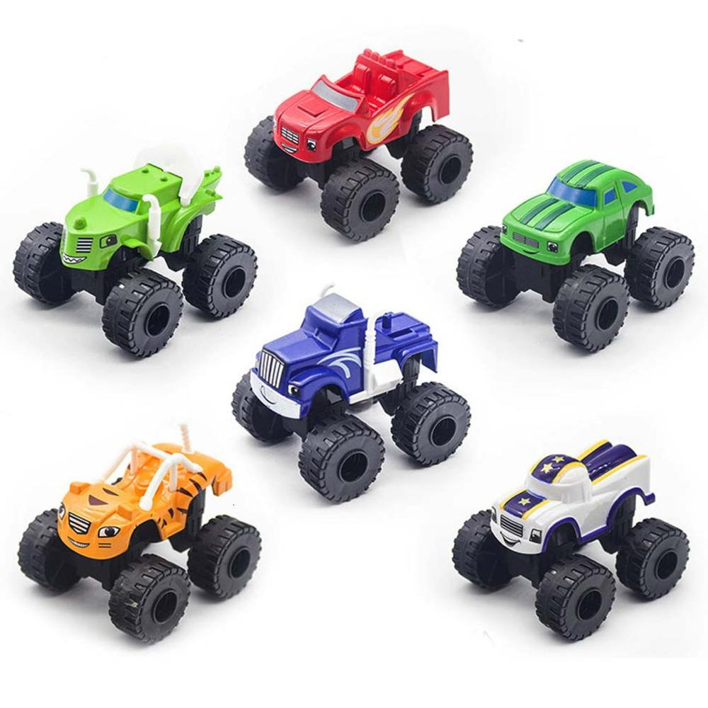 6 PCS / Set Monster Machines Voiture Jouets Russian Miracle Concasseur Camion Véhicules Flame Big Truck Toys Racing Meilleurs cadeaux pour enfants Y1130