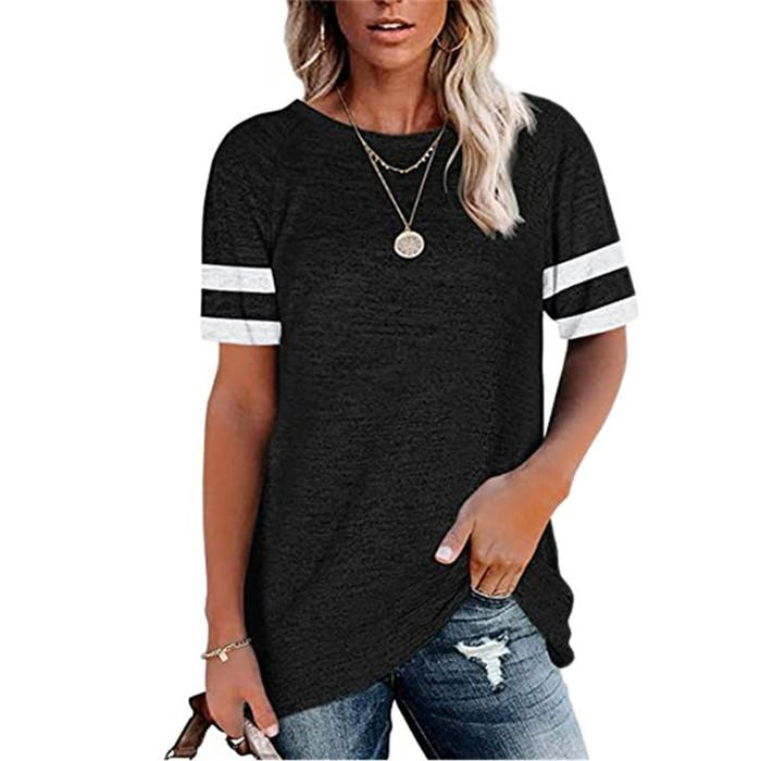 Women Striped Short Sleeve Tshirt Summer Crew Neck Wide Waisted Tees Ladies Panelled Top
