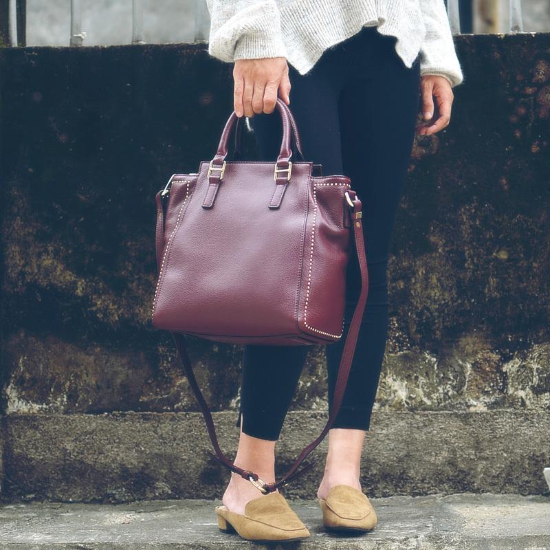 Photo Head Soft Cowskin Rivet Bag Borsa Fashion Hand-detenuto Obliquo Attraversamento Borsa da donna Borsa da donna Borsa da commutazione C0121