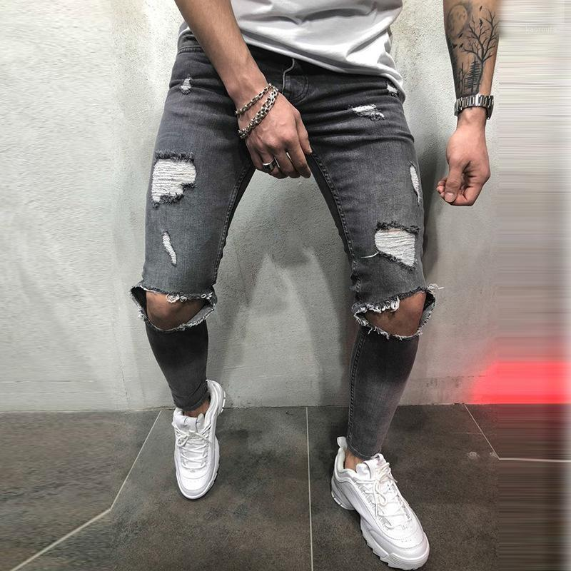 Мужские джинсы сексуальная дыра плюс размер молнии винтажные джинсы тощий стрейч повседневные джинсовые брюки мужские бедра хип-хоп брюки карандашные брюки мужчины1