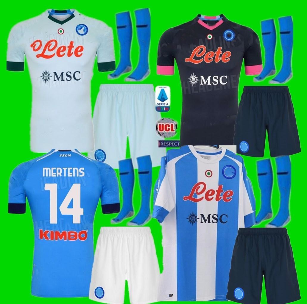 Kit Kit Kit adulte 19 20 21 Napoli Soccer Jersey Home 2020 2021 Naples Zielinski Hamsik Insigne Mertens Callejon Joueur Rog Football Shirts