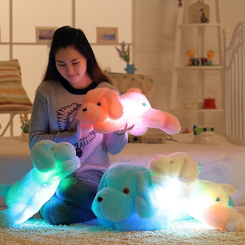 30 سنتيمتر 50 سنتيمتر القوس التعادل محظوظ الكلب مضيئة الدب دمية مع المدمج في الصمام ضوء ملون مضيئة وظيفة هدية عيد الحب لعبة أفخم لعبة