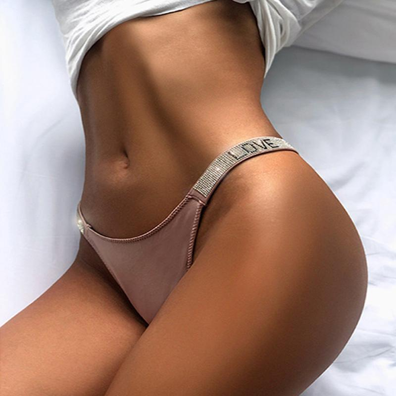Salewomen's Thongs Fashion Strass String Lettres Lettrages Diamants Low Taille Shorts Panties Fitness Triangle Slips T-Back Lingerie Femme