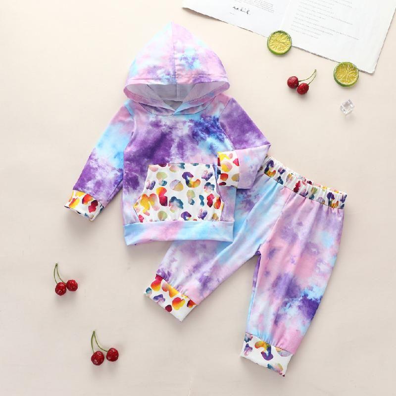 Neugeborene Baby Mädchen Langarm Rainbow Splice Tie-Dye Hoodie + Hosen Set Outfits Baby Jungen Mädchen Kleidung Vetement Fille