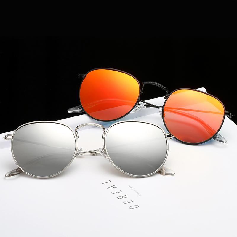 2020 moda redonda sol óculos marca desenhador óculos de liga óculos de sol mulheres vintage metal dobradiça óculos senhora sol