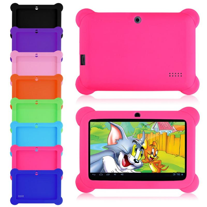 "Cheapest Anti Dust Kids Child Soft Silicone Rubber Gel Case Cover for 7"" 7 Inch Q88 A33 A23 Android Tablet PC Anti-shock Protection"