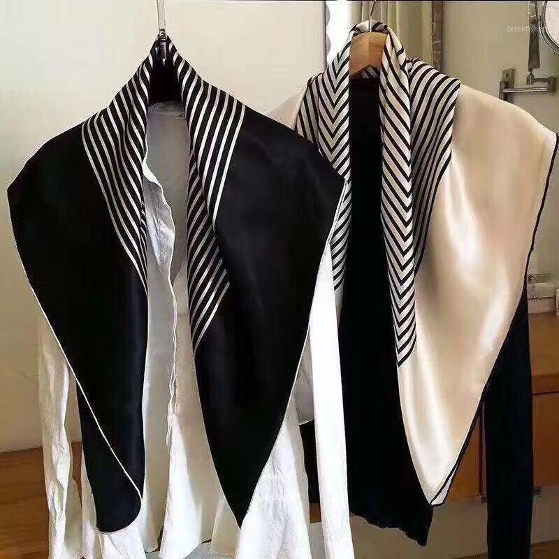 Sin agujero cuadrado 04 doble crepé 100% seda mujeres bufanda negro beige colours1