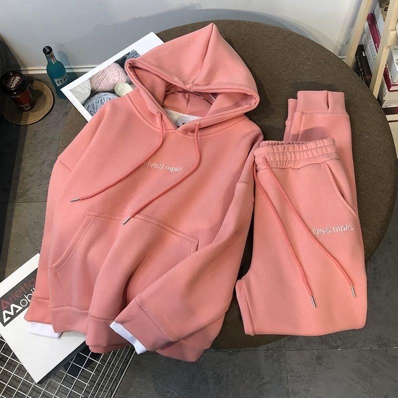 Outono inverno dois pedaço conjunto novo grosso veludo pulôver camisola com capuz mulheres terno feminino esportes e lazer calças de duas peças 201120