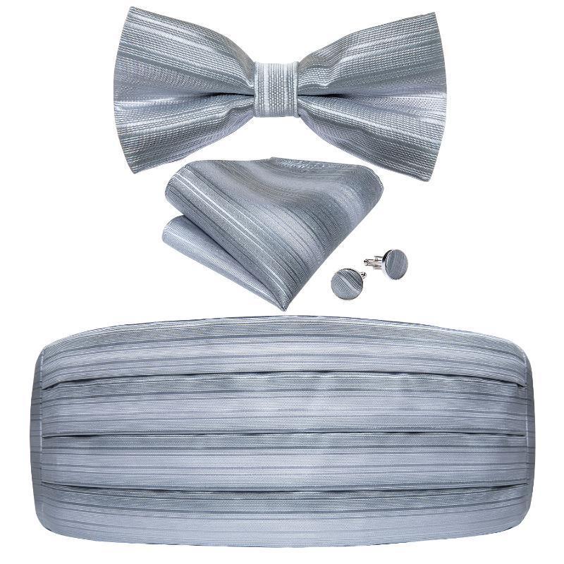 Men's Tuxedo Cummerbund Fashion Gray Silk Striped Bow Tie Handerchif Cufflinks Set Wedding Party Cummerbunds Waist Band DiBanGu