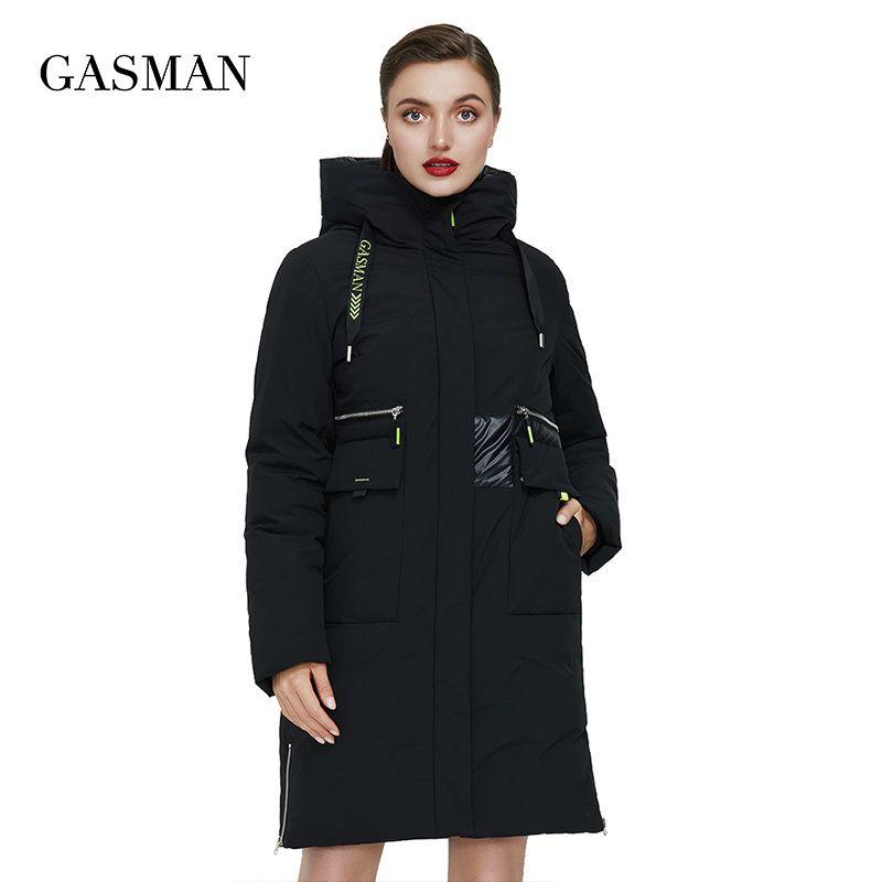 Gasman 2020 Black Patchwork Black Down Parka Winter Women's Et per cappotto da donna Outwear caldo Outwear Fashion Fashion Brand Spessa ET 020