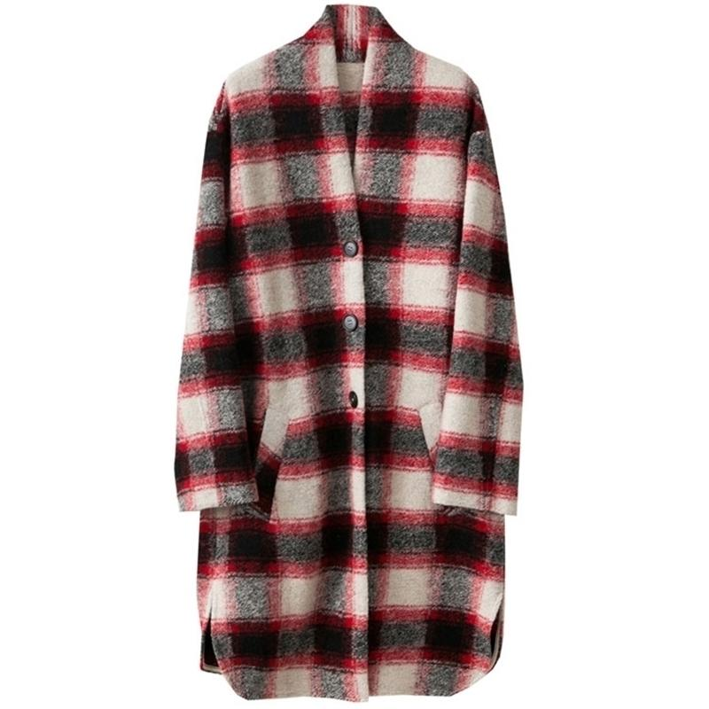 Kadın Moda Kontrollü Yün Ceket V-ECK Bırak Omuz Boy Uzun Mont Tek Göğüslü Cepler Ile 201215