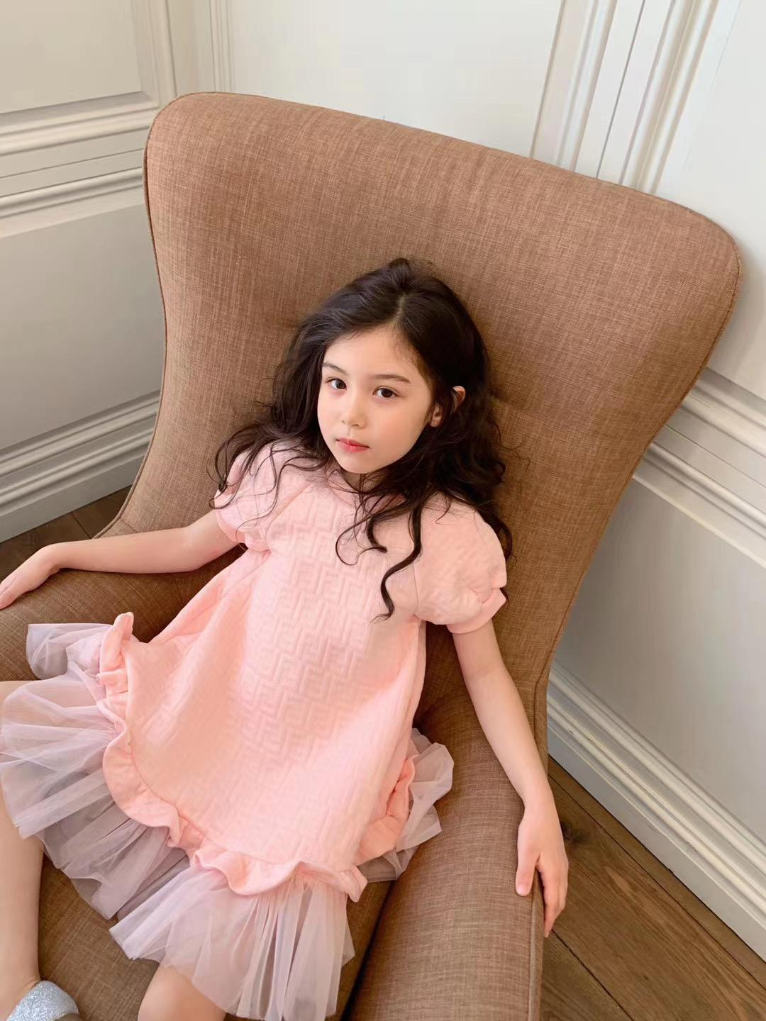 New Summer Fashion Toddlers Girls Dress Dress 2021 Bebuny Girl Lace Princess Dress Bambini Girls Birthday Party Dress rosa
