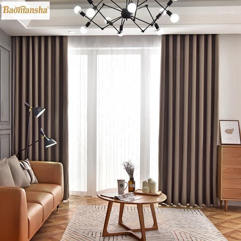 Moderne braune Blackout Vorhänge für Wohnzimmer Schlafzimmer Fenstervorhang Duschvorhang Set Produtos Para Casa Cortina Rideau Ringt1